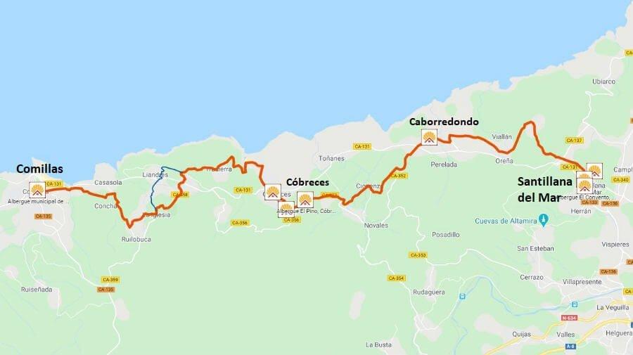 Mapa de la etapa de Santillana del Mar a Comillas - Camino del Norte :: Albergues del Camino de Santiago