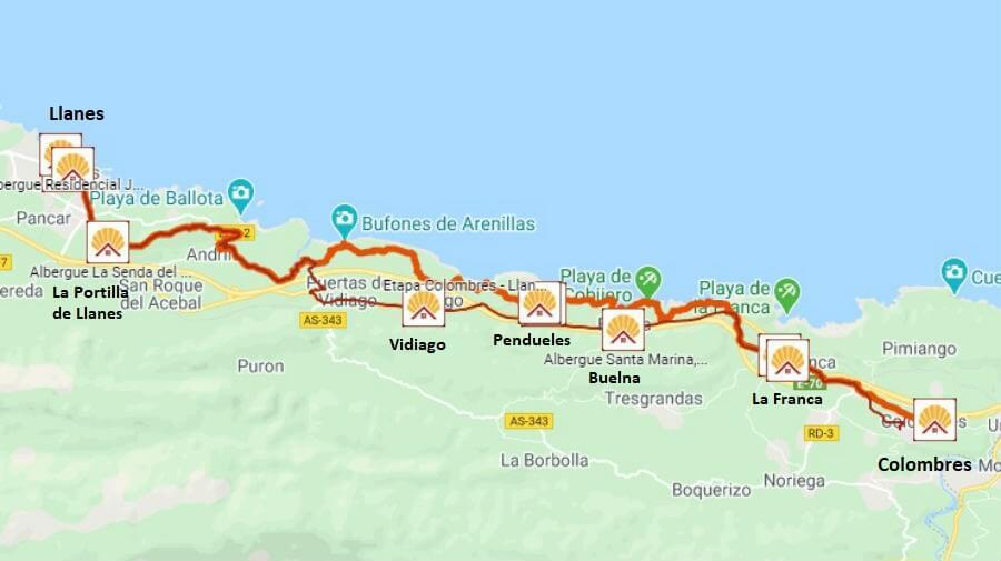 Mapa de la etapa de Colombres a Llanes - Camino del Norte :: Albergues del Camino de Santiago