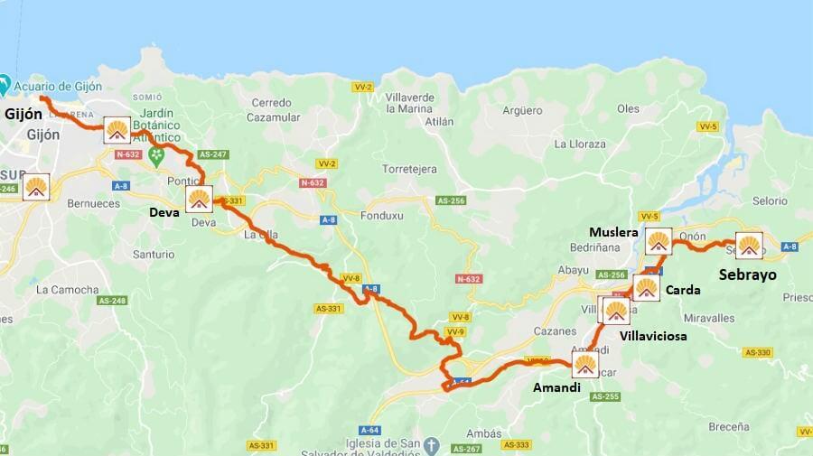 Mapa de la etapa de Sebrayo a Gijón - Camino del Norte :: Albergues del Camino de Santiago