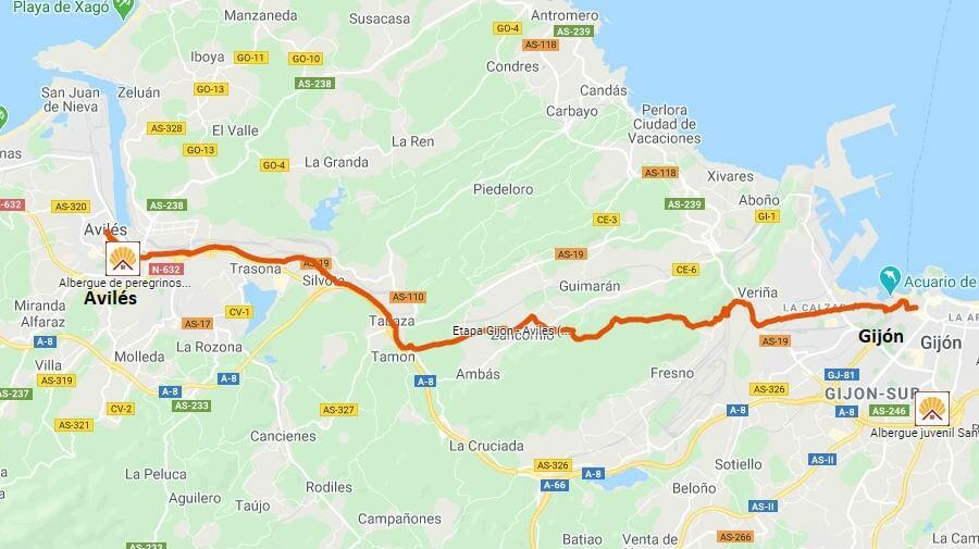 Mapa de la etapa de Gijón a Avilés - Camino del Norte :: Albergues del Camino de Santiago