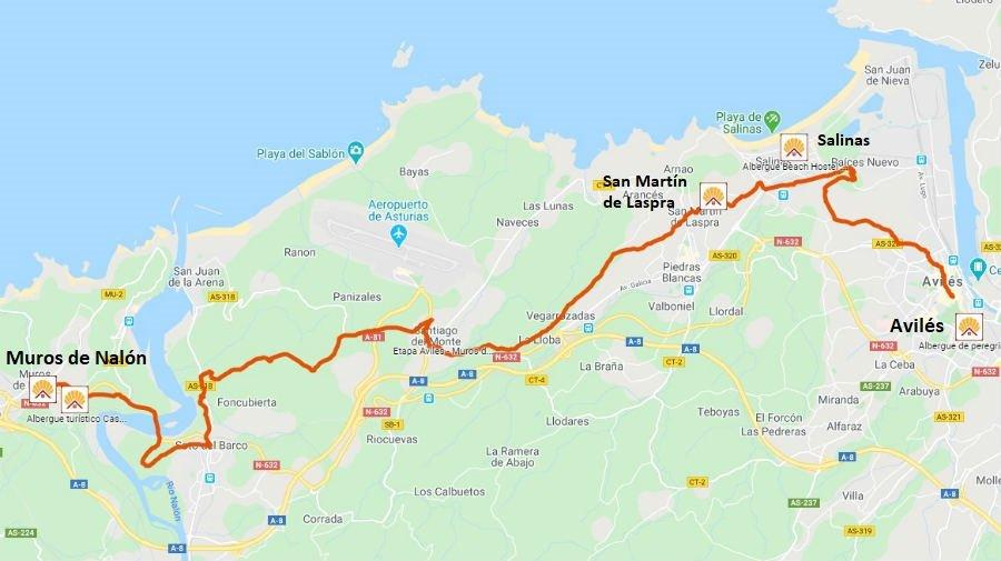 Mapa de la etapa de Avilés a Muros de Nalón - Camino del Norte :: Albergues del Camino de Santiago