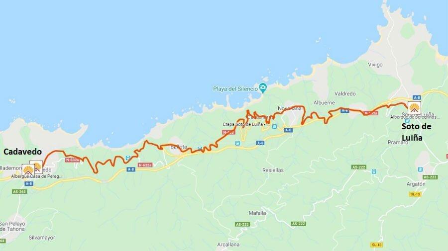 Mapa de la etapa de Soto de Luiña a Cadavedo - Camino del Norte :: Albergues del Camino de Santiago