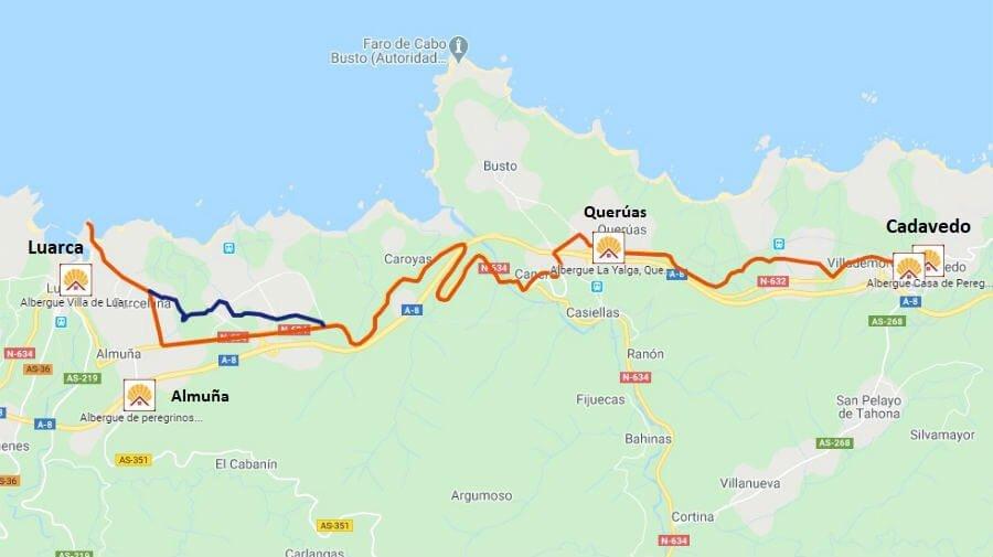 Mapa de la etapa de Cadavedo a Luarca - Camino del Norte :: Albergues del Camino de Santiago
