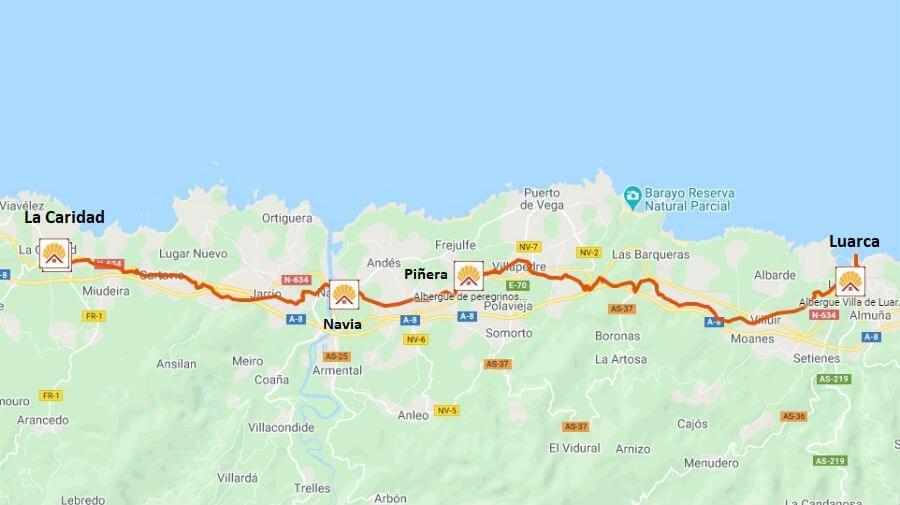 Mapa de la etapa de Luarca a La Caridad - Camino del Norte :: Albergues del Camino de Santiago