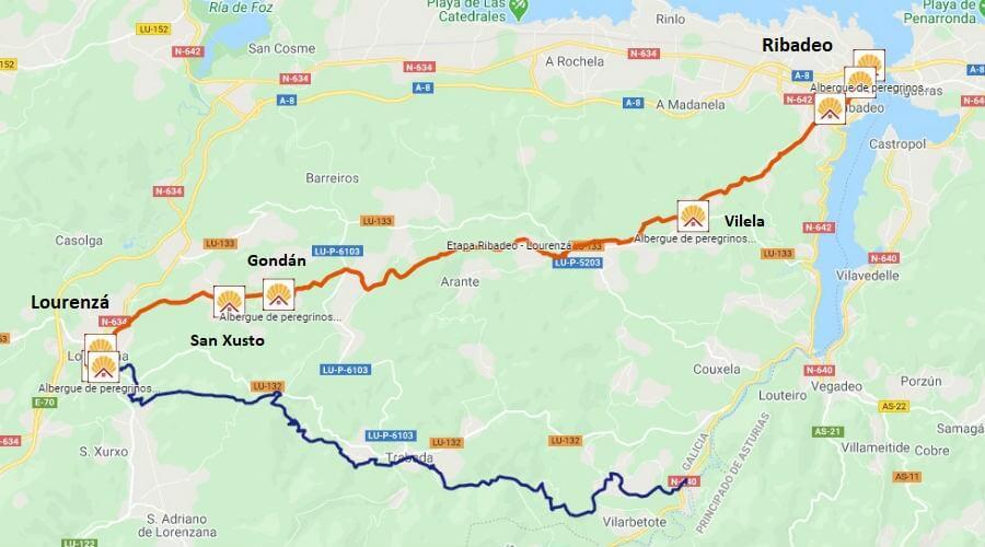 Mapa de la etapa de Ribadeo a Lourenzá - Camino del Norte :: Albergues del Camino de Santiago