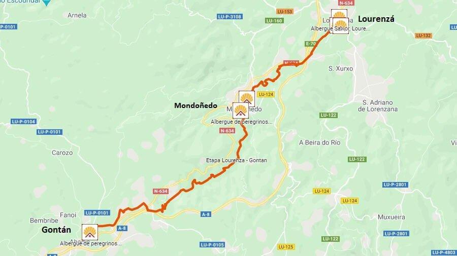 Mapa de la etapa de Lourenzá a Gontán - Camino del Norte :: Albergues del Camino de Santiago