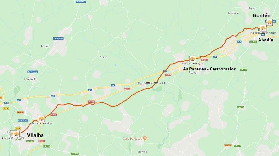 Mapa de la etapa de Gontán a Vilalba - Camino del Norte :: Albergues del Camino de Santiago