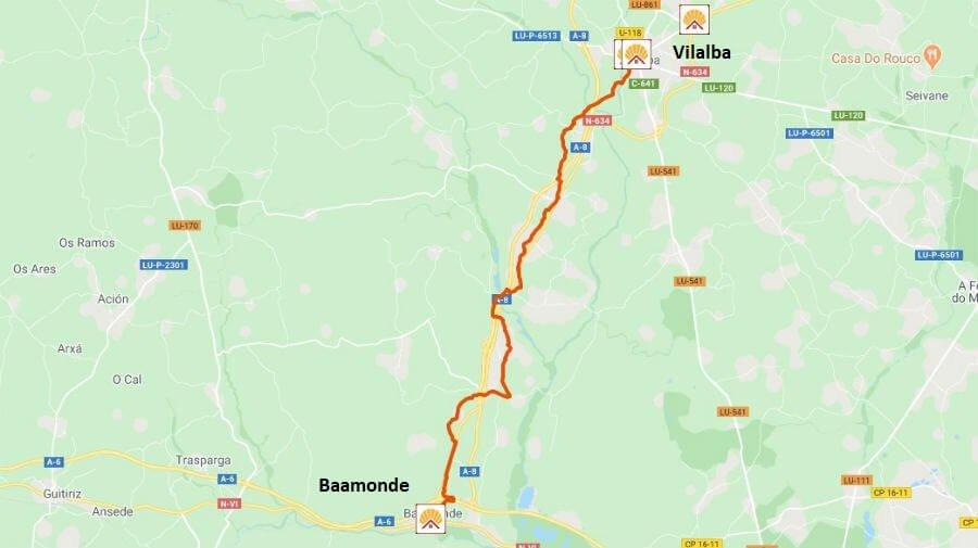 Mapa de la etapa de Vilalba a Baamonde - Camino del Norte :: Albergues del Camino de Santiago