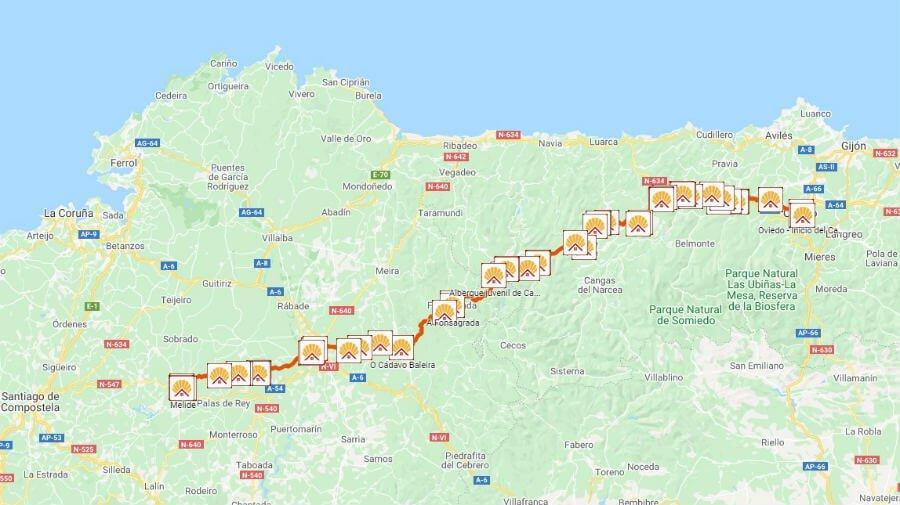 Mapa del Camino Primitivo de Oviedo a Melide :: Albergues del Camino de Santiago