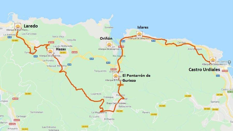 Mapa de la Etapa de Castro Urdiales a Laredo - Camino del Norte :: Guía del Camino de Santiago