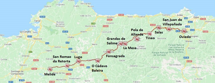 Etapas del Camino Primitivo de Oviedo a Melide :: Albergues del Camino de Santiago