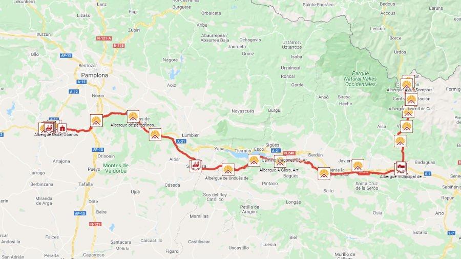Mapa completo del Camino Francés en Aragón (Camino Aragonés) :: Albergues del Camino de Santiago