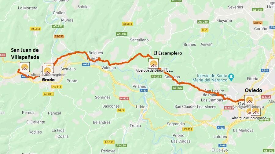Mapa de la etapa de Oviedo a San Juan de Villapañada - Camino Primitivo :: Guía del Camino de Santiago