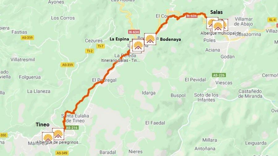Mapa de la etapa de Salas a Tineo - Camino Primitivo :: Guía del Camino de Santiago
