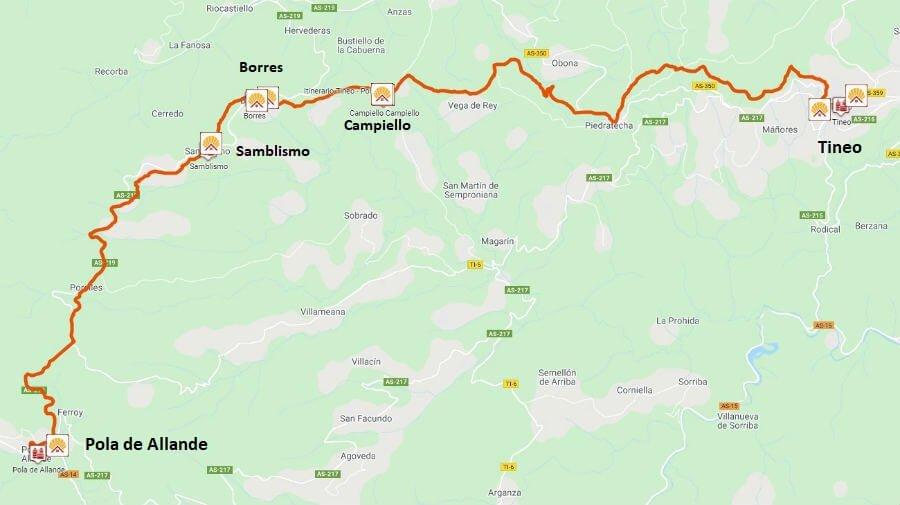 Mapa de la etapa de Tineo a Pola de Allande - Camino Primitivo :: Guía del Camino de Santiago