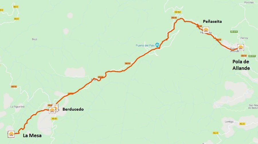 Mapa de la etapa de Pola de Allande a La Mesa - Camino Primitivo :: Guía del Camino de Santiago
