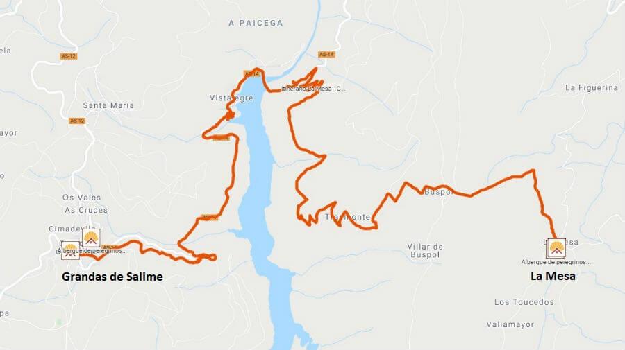 Mapa de la etapa de La Mesa a Grandas de Salime - Camino Primitivo :: Guía del Camino de Santiago