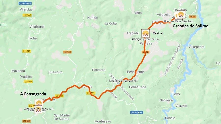 Mapa de la etapa de Grandas de Salime a A Fonsagrada - Camino Primitivo :: Guía del Camino de Santiago
