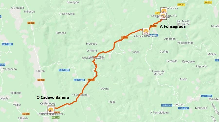 Mapa de la etapa de A Fonsagrada a O Cádavo Baleira - Camino Primitivo :: Guía del Camino de Santiago