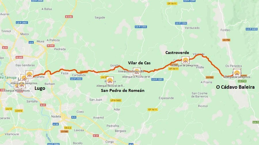 Mapa de la etapa de O Cádavo Baleira a Lugo - Camino Primitivo :: Guía del Camino de Santiago