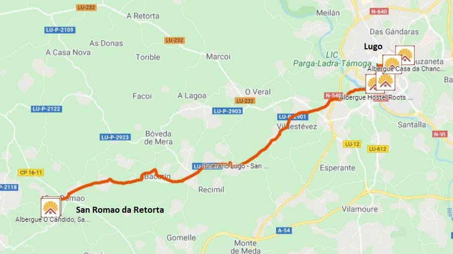 Mapa de la etapa de Lugo a San Romao da Retorta - Camino Primitivo :: Guía del Camino de Santiago