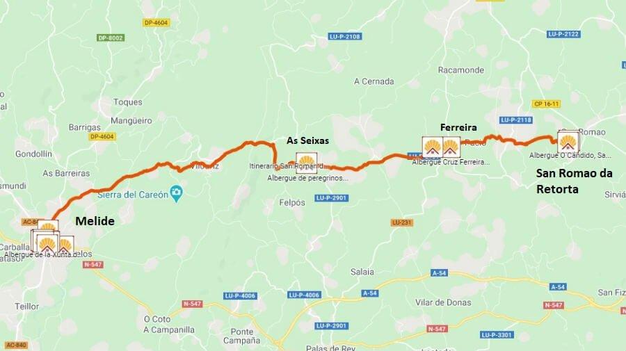 Mapa de la etapa de San Romao da Retorta a Melide - Camino Primitivo :: Guía del Camino de Santiago