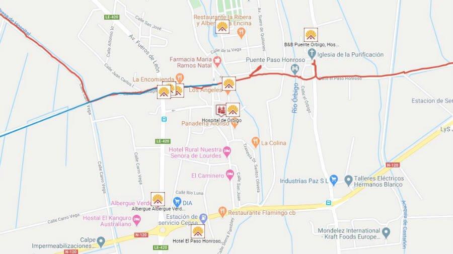 Albergues y otros alojamientos en Hospital de Órbigo, León - Camino Francés :: Guía del Camino de Santiago