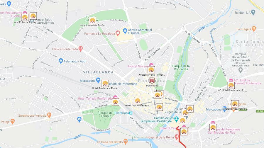 Albergues de peregrinos y otros alojamientos en Ponferrada, León - Camino Francés :: Guía del Camino de Santiago
