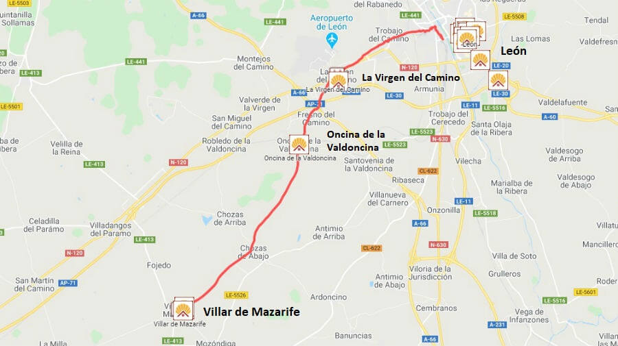 Mapa de la etapa de León a Villar de Mazarife (Variante Sur) - Camino Francés :: Guía del Camino de Santiago