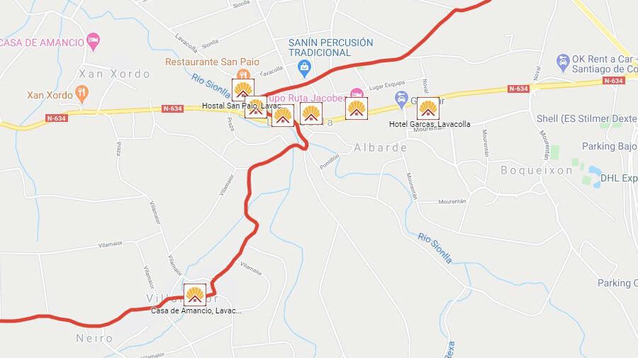 Albergues de peregrinos y otros alojamientos en Lavacolla, La Coruña - Camino Francés :: Guía del Camino de Santiago
