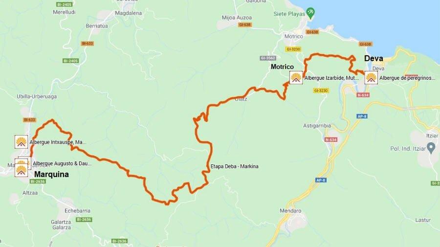 Mapa de la etapa de Deva a Marquina - Camino del Norte :: Albergues del Camino de Santiago