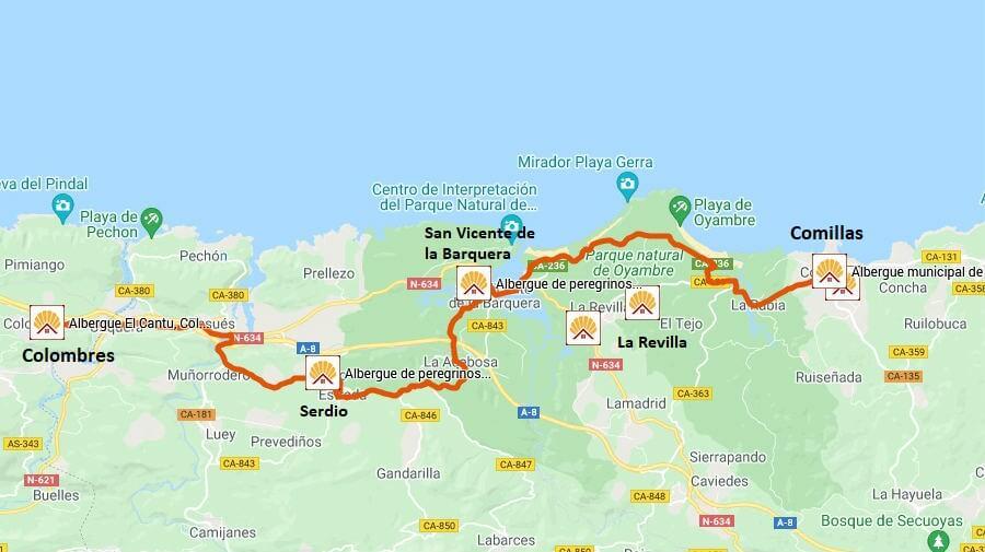 Mapa de la etapa de Comillas a Colombres - Camino del Norte :: Guía del Camino de Santiago