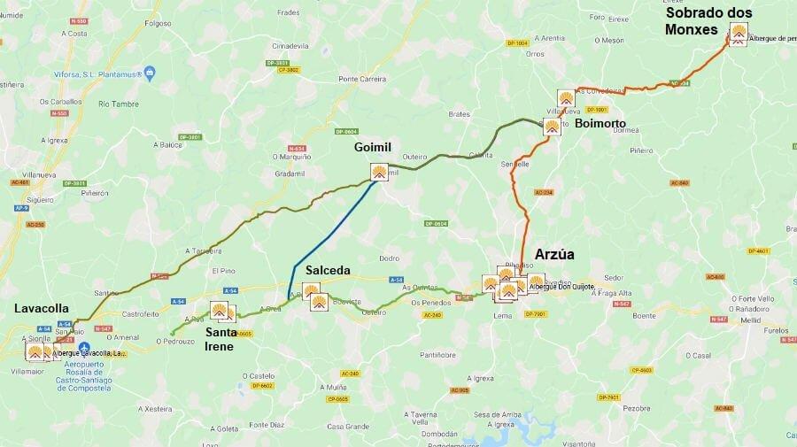 Mapa de la etapa de Sobrado dos Monxes a Arzúa - Camino del Norte :: Guía del Camino de Santiago