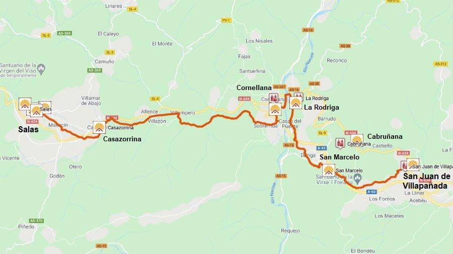 Mapa de la etapa de San Juan de Villapañada a Salas - Camino Primitivo :: Guía del Camino de Santiago